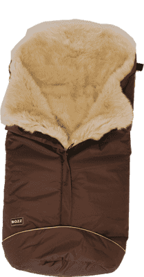B.O.Z.Z Fusak do kočíka z ovčej vlny - dlhý vlas, Brown / Linen