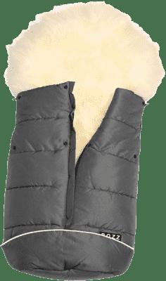 B.O.Z.Z Fusak do kočárku z ovčí vlny - dlouhý vlas, Grey / White