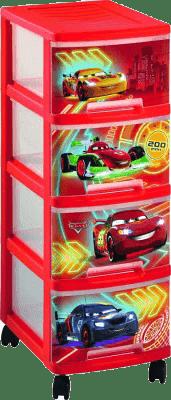 CURVER Regał z szufladami (kółka) Cars, 4x10l