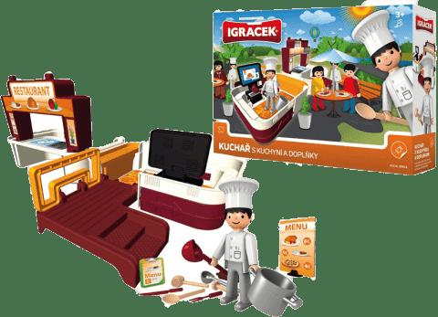 IGRÁČEK Kuchař s kuchyní a doplňky