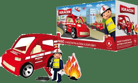 IGRÁČEK Hasič s hasičským autom a doplnky