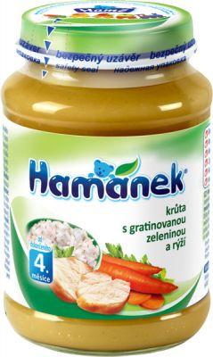 HAMÁNEK Krůta s gratinovanou zeleninou a rýží (190 g) - maso-zeleninový příkrm