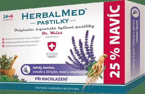 HERBALMED Dr.Weiss Šalvia + ženšen + vitamín C 24 + 6 pastiliek pri prechladnutí