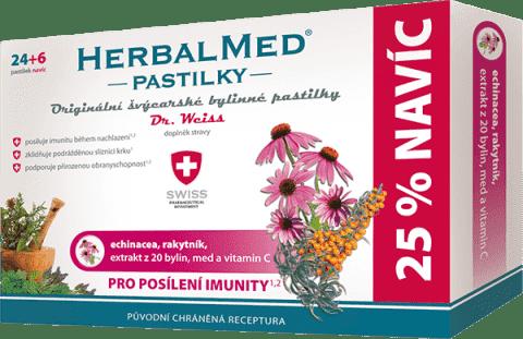 HERBALMED Dr.Weiss Echinacea + rakytník + vitamín C 24 + 6 pastiliek pre posilnenie IMUNITy