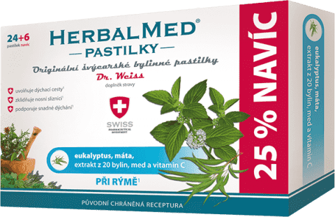 HERBALMED Dr.Weiss Eukalyptus + mäta + vitamín C 24 + 6 pastiliek pri nádche