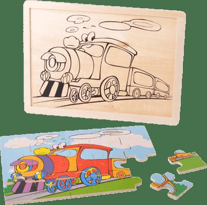 MIKRO TRADING Drewniane puzzle pojazdy - pociąg