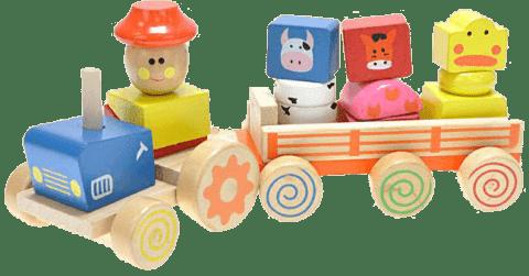 MIKRO TRADING Traktor drewniany z przyczepą