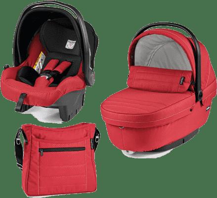 PEG-PÉREGO Zestaw Gondolka + Fotelik samochodowy + torba modular XL Mod red
