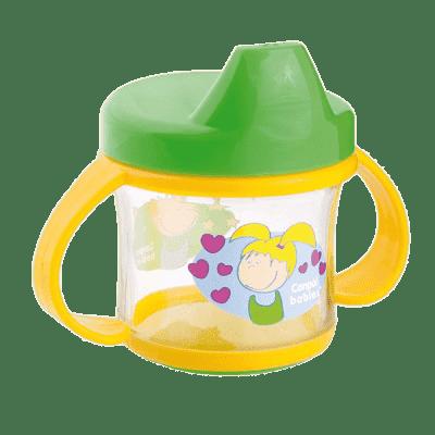 CANPOL BABIES Nevylévací hrníček s oušky 200 ml zeleno-žlutá
