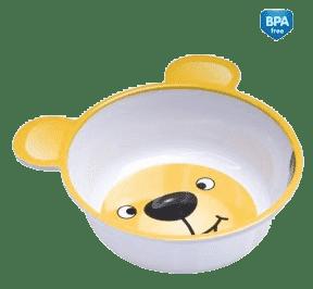 CANPOL Babies Melaminová miska protiskluzová s ouškama – žlutý medvídek