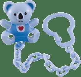 CANPOL Babies 10/874 Retiazka na cumlík medvedík so srdiečkom - modrá