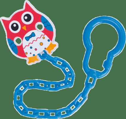 CANPOL BABIES Řetízek na šidítko sova – červená, modrá