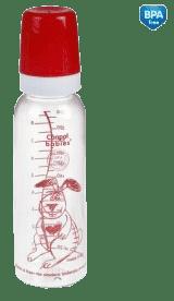 CANPOL Babies Láhev s jednobarevným potiskem 250 ml bez BPA – červená