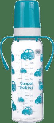 CANPOL Babies Láhev s jednobarevným potiskem 250 ml s úchyty bez BPA – tyrkysová