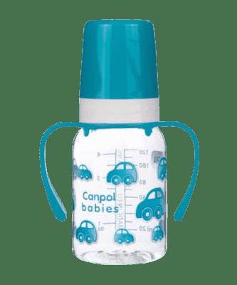 CANPOL BABIES Láhev s jednobarevným potiskem 120 ml s úchyty bez BPA modrá