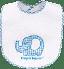 CANPOL Babies Śliniak ceratkowy- bawełniany z rzepem//PEVA folia słoń/królik – słoń