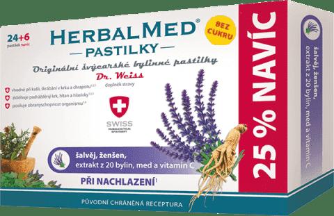 HERBALMED Dr.Weiss BEZ CUKRU Šalvěj+ženšen+vitamin C 24+6 pastilek při nachlazení