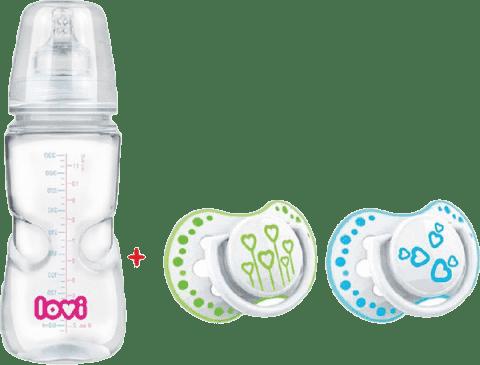 LOVI Butelka 330ml 0% BPA SUPER VENT ze smoczkami LOVI Basic 6-18m ZA DARMO – niebieska, zielona