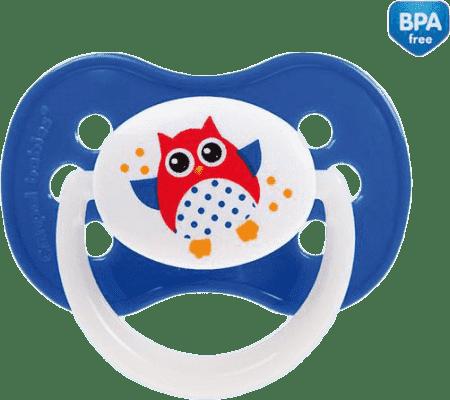 CANPOL Šidítko silikonové symetrické 6-18 m SOVA – tmavě modrá