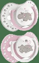 LOVI Dudlík silikonový dynamický NIGHT&DAY 6-18m 2ks růžový hrošík