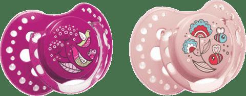 LOVI Silikonový dudlík dynamický Folky 0-3m 2 ks – fialová, růžová