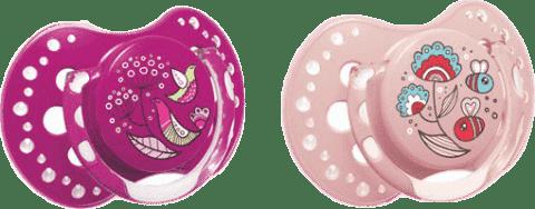 LOVI Silikonový dudlík dynamický Folky 3-6m 2 ks – fialová, růžová