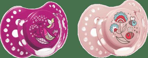 LOVI Dudlík silikonový dynamický FOLKY 6-18m 2ks – fialová, růžová