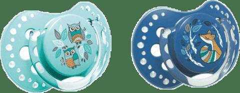 LOVI Dudlík silikonový dynamický FOLKY 6-18 m 2 ks – modrá