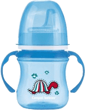 CANPOL Babies Tréninkový hrníček EasyStart zvířátka 120ml – modrá