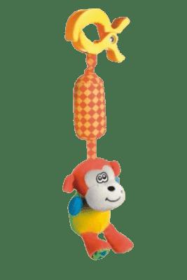 CANPOL Babies Plyšové hrkálka s klipom opička