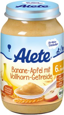 ALETE BIO Banán s jablkami a celozrnnou obilninou 190 g - ovocný príkrm