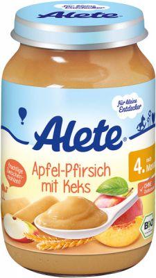 ALETE BIO Jablko s broskyňou a sušienkami 190 g - ovocný príkrm