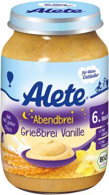 ALETE BIO Kaša večerná semolinová s vanilkovou príchuťou 190 g - mliečna kaša