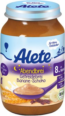 ALETE BIO Kaša večerná s banánom a čokoládou 190 g - mliečna kaša