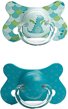 SUAVINEX Fusion cumlík anat.savička + 12m 2 unit - drak, zelené krížiky