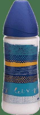 SUAVINEX Butelka szeroki otwór pp 360 ml lateksowy ustnik – ciemnoniebieska
