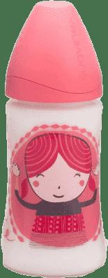SUAVINEX Butelka z szerokim otworem pp 270 ml lateksowy ustnik – dziewczynka