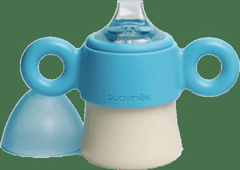 SUAVINEX Prvá - fľaša s uškami / nerozlitná cumlík + 6m hello fox - modrá