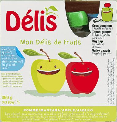DÉLIS 100% ovocné pyré jablko (4x90g) - ovocný příkrm