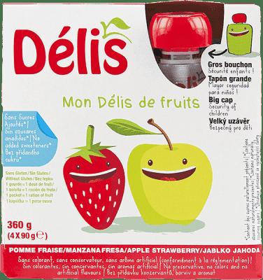 DÉLIS 100% ovocné pyré jablko-jahoda 4x90g