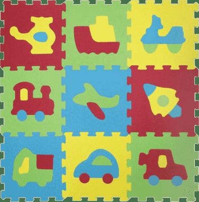 LUDI Puzzle pěnové 84x84 cm – dopravní prostředky 9 ks