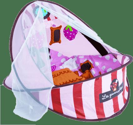 LUDI Cestovní postýlka / deka s hrazdou – růžová
