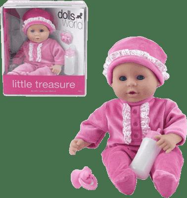 DOLLS WORLD Bábika Little Treasure Ružový oblečok (fľaša + cumlík)