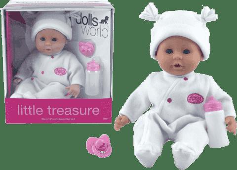 DOLLS WORLD Bábika Little Treasure Biely oblek (fľaša + cumlík)