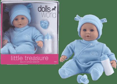DOLLS WORLD Bábika Little Treasure Modrý oblečok (fľaša + cumlík)