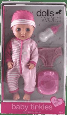 DOLLS WORLD Panenka Baby Tinkles (láhev,nočník, plenky)