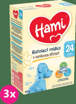 3x HAMI 24+ s príchuťou vanilky (600 g) – dojčenské mlieko