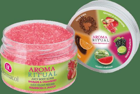 DERMACOL Aroma Ritual - tělový peeling rebarbora a jahody 200 g