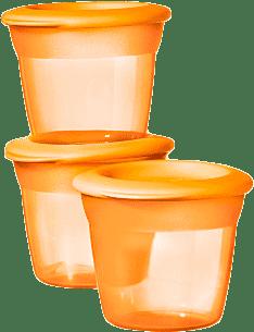 TOMMEE TIPPEE Kelímky s viečkom na jedlo 3 ks Basic 100 ml – oranžové