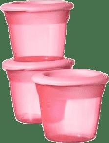 TOMMEE TIPPEE Kelímky s viečkom na jedlo 3 ks Basic 100 ml – ružové